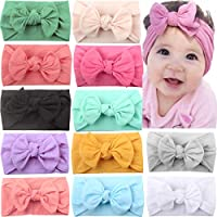 CELLOT 12 Colors Super Stretchy Soft Knot Baby Girl Headbands with Hair Bows Head Wrap For Newborn Baby Girls Infant Toddlers Kids
