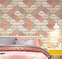 バーのための素朴なれんが造りの装飾の壁紙の壁紙の壁紙ロール店のレストランのフレスコ画-Pink