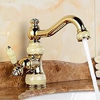 排水溝洗面真鍮Torneira Cozinha Jadeボディwith Marble Basin蛇口シングルハンドルゴールド仕上げシンクミキサータップA aawang