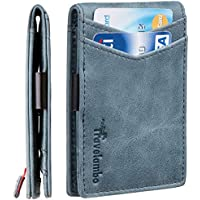 Travelambo Mens RFID Blocking Front Pocket Minimalist Slim Genuine Leather Wallet Pull Tab Money Clip