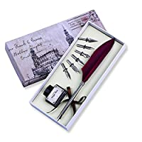 (Wine Red) - FUNRUI Vintage Feather Pen Set Antique Writing Feather Quill Dip Pen Calligraphy Quill Fountain Pen with Empty Ink Bottle and 6 Pcs Metal NIB Set (Wine Red)
