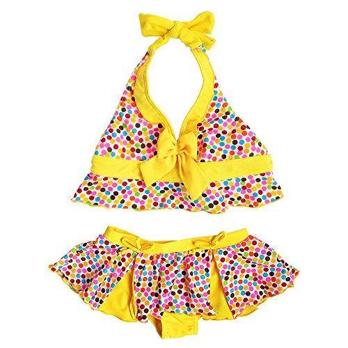 女の子 子供 みずぎ 可愛い ドット柄 蝶結び ビキニ 水着 セパレートかわいい キュート スイミングウェア