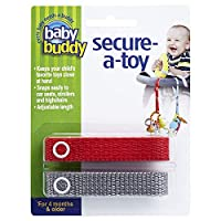 Baby Buddy(ベビーバディ) Secure-A-Toy 2ct おもちゃストラップ2色各1本組 レッド/グレー 2本