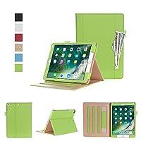 Bpowe 新型 2017 iPad 9.7 インチ ケース 用 iPad Air /iPad Air 2 にも対応 スタンド機能き手帳型 耐衝撃 カバー ケース 角度調整可 書類用ポケット付き (グリーン)