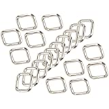 BQLZR Silver Rectangle Metal Dee Ring D Webbing Belt Ribbon Buckle 20mm Strap Adjuster Pack of 20