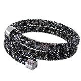 スワロフスキー SWAROVSKI バングル ブレスレット Crystaldust Double Sサイズ クリスタルダスト ダブル ダーク クリスタル 5255909 [並行輸入品]