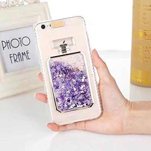 iPhone5 5S SE ケース カバー Huashine 可愛い 香水瓶 香水ボトル 着信 で 光る 多彩な流砂 スパンコール キラキラ パフューム 動く ...