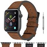 アップルウォッチバンド ベルト44mm,Fullmosa Apple Watch バンド ベルト iWatch バンド ベルトスエード 柔らかい革 レザー ワンタッチ44mm ブラウン+スモーキーグレー