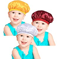 3 Pieces Kids Satin Bonnets Night Sleep Caps Wide Band Sleeping Hats for Kids Toddler Children Baby (Color Set 2)