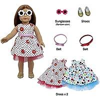 ZITA ELEMENT アメリカンガールドール用服 きせかえ 夏休 バケーション6点セット=2枚ドレス+2本ベルト+1足靴+1本サングラス  1/4サイズ(約46cm)ドール適用