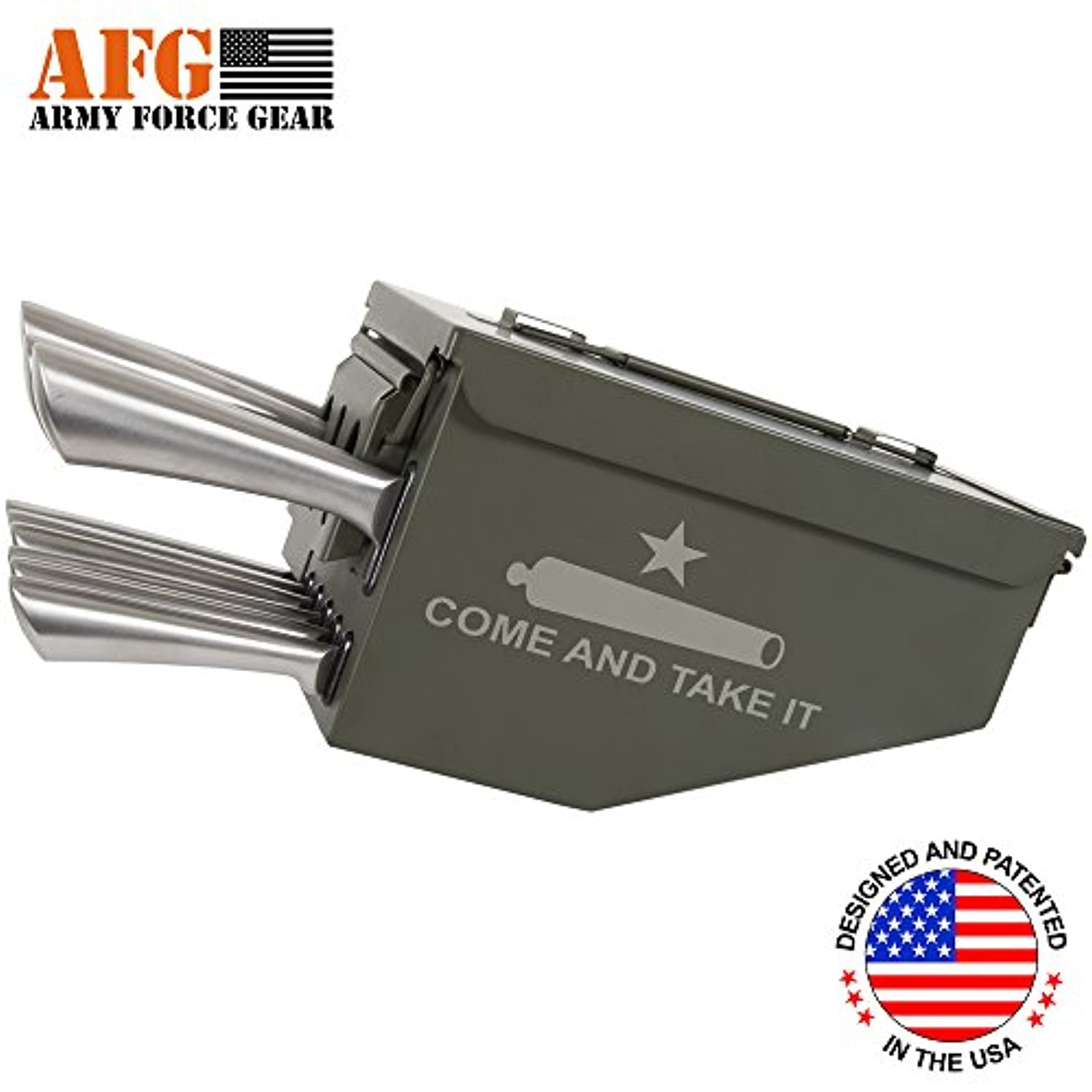 Army Force Gearスチールキッチン10 Piece Ammo CanボックスMilitary Come and Take It Engravedナイフブロックカトラリーシェフナイフ、鋸歯状ステーキナイフセット、三徳ナイフ、Carvingナイフ、パン切りナイフ