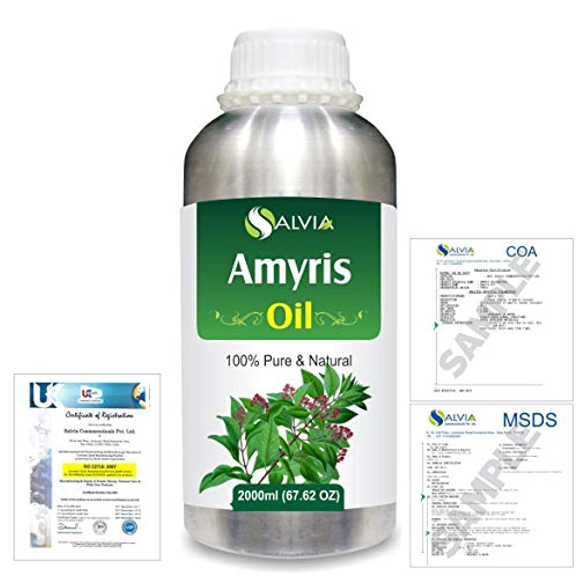 師匠連続的役割Amyris (Amyris balsamifera) 100% Natural Pure Essential Oil 2000ml/67 fl.oz.