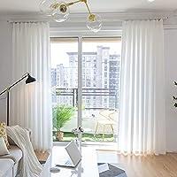 エレガンス 半透明 カーテン, 覆われた固体のベール リング付属 1 パネル 光の透過・ プライバシー ウィンドウ カーテン 寝室用 リビング ルームのバランス-ホワイト W130xH180cm