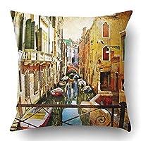sfeihefsaj ピローカバーをスローし、絵画の有名なイタリアの塗料ヴィンテージイタリア花古いポリエステル18 x