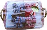 【タオルの萩原】 ギフトセット タオル フェイスタオル 2枚セット 今治産 水玉ガーゼ フェイスタオル 2枚組 タオルベア 出産 内祝い gift-mizutama-ft2p (ブルーセット)