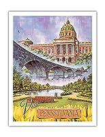 訪問ペンシルベニア - ハリスバーグ、ペンシルバニア州 - 州議会議事堂、ロックビルブリッジ、イタリアの湖公園 - ビンテージな世界旅行のポスター によって作成された バート スローン c.1960s - アートポスター - 51cm x 66cm