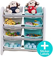 Kids Toy Storage Organizer - Open Display Organizing Cabinet - 4-Tier 8 Basket Drawer Rack - Detachable Multip