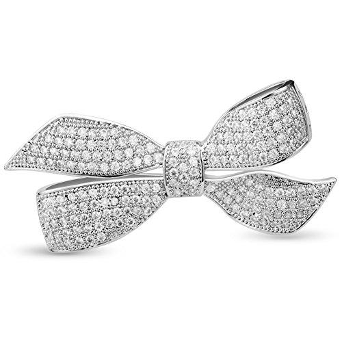 [해외]SHEGRACE 구리 플래티넘 도금 AAA 지르콘 & 나비 매듭 리본 클리어 브로치 가슴 보석 여성/SHEGRACE Copper Platinum Plating AAA Zircon & Bow Tie Ribbon Clear Brooch Bust Jewelry Women`s