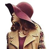 (ミネトメ)Minetom レディース 女性 レトロ レディース ワイドつば フェルト 帽子 テンガロン ハット サンバイザー 可愛い 復古 ( ワインレッド )