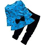 Csbks Baby Girls Long Sleeve Pant Sets Toddler Bow Sweetheart Clothing 2pcs Outfits