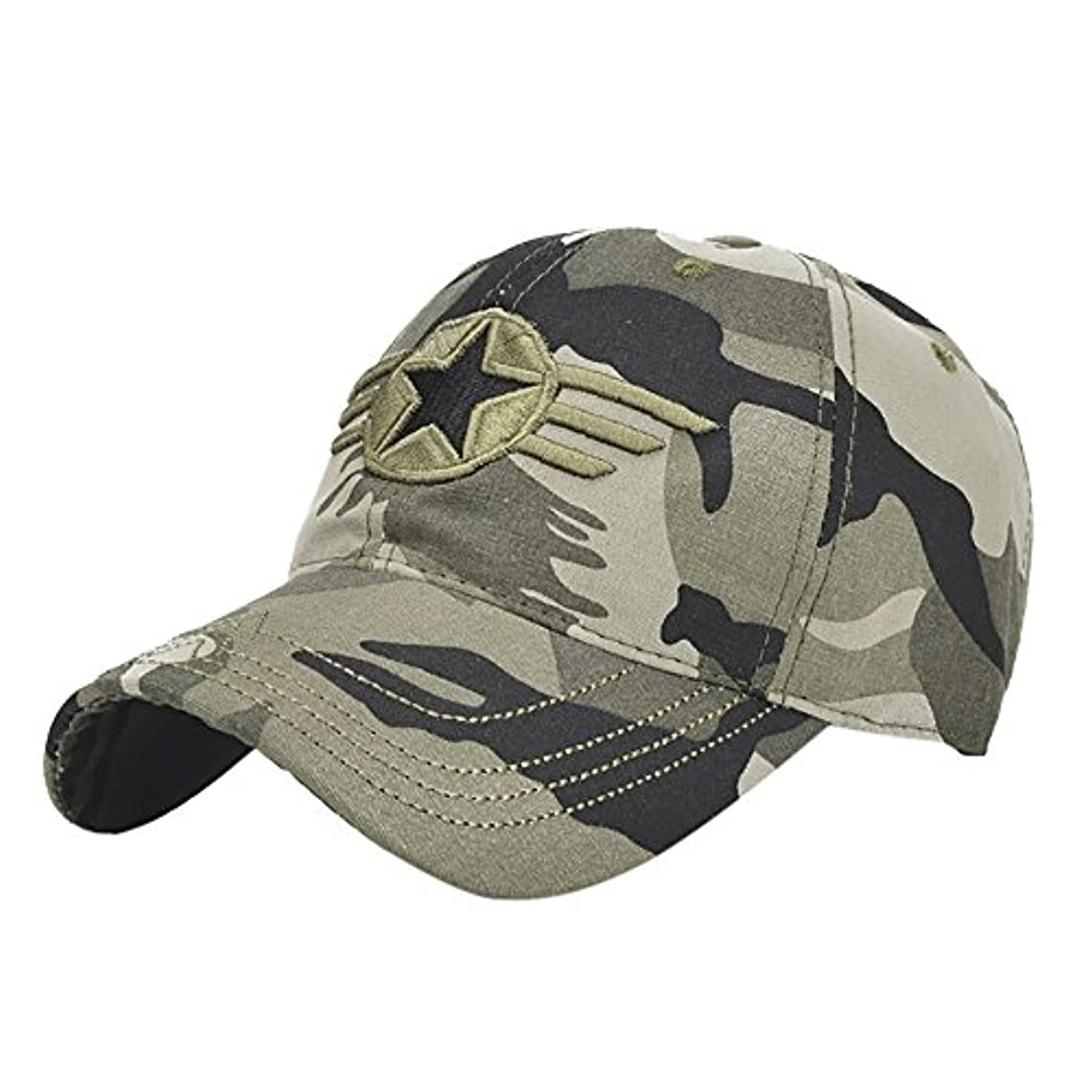 申し立てる強風ニュースRacazing Cap ミリタリーキャップ 野球帽 迷彩 夏 登山 通気性のある メッシュ 帽子 ベルクロ 可調整可能 スターバッジ 刺繍 棒球帽 UV 帽子 軽量 屋外 Unisex Hat (迷彩)
