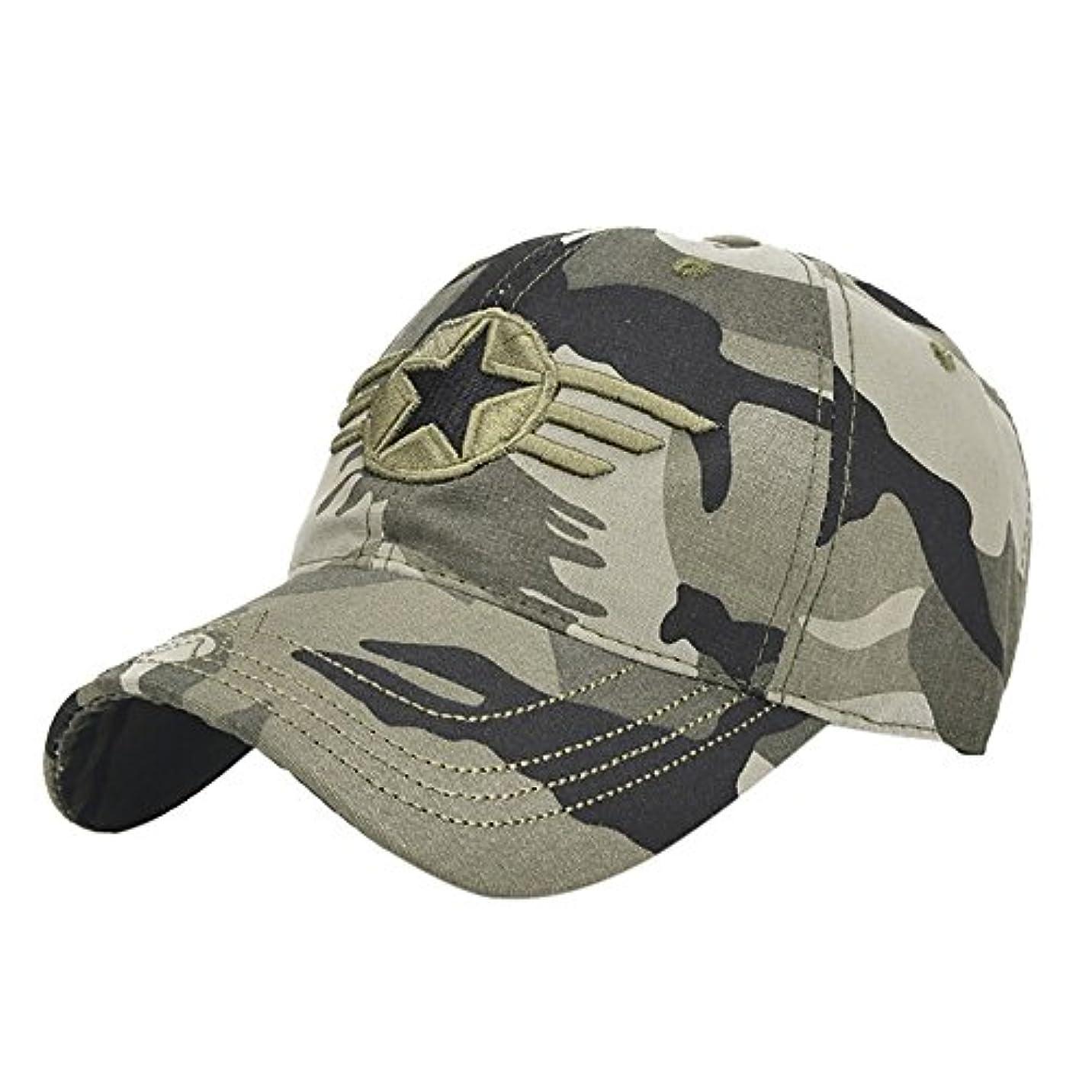 Racazing Cap ミリタリーキャップ 野球帽 迷彩 夏 登山 通気性のある メッシュ 帽子 ベルクロ 可調整可能 スターバッジ 刺繍 棒球帽 UV 帽子 軽量 屋外 Unisex Hat (迷彩)
