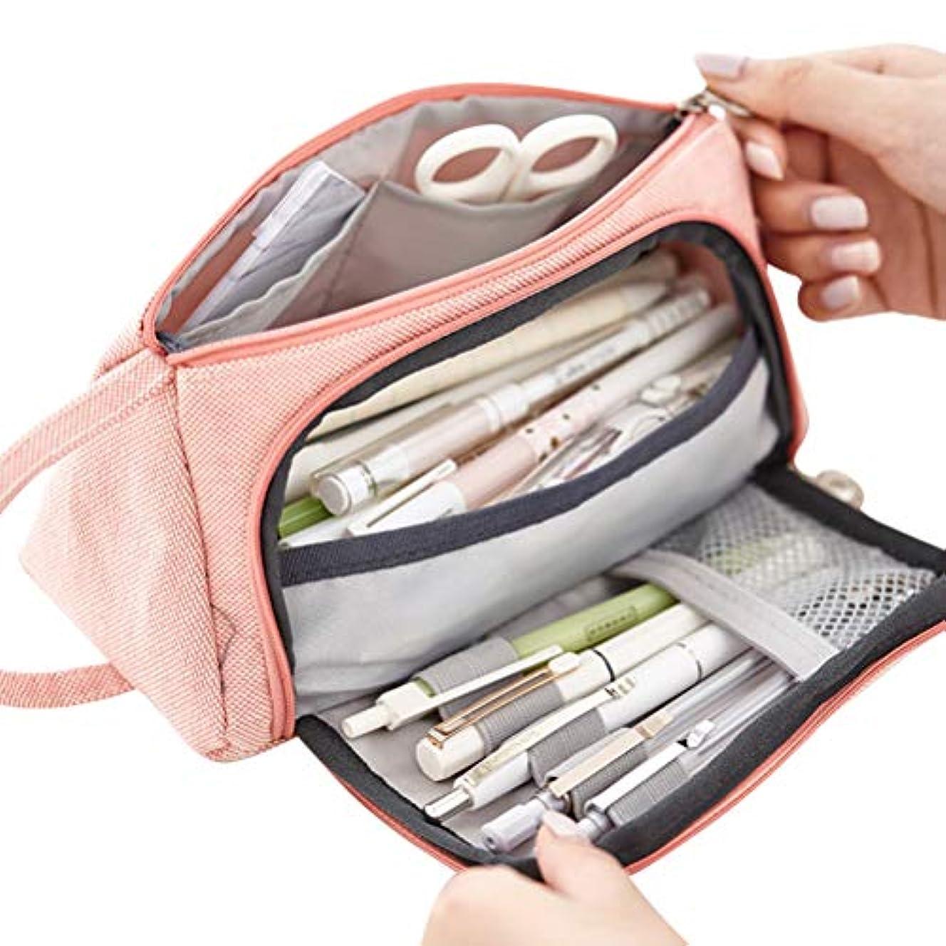 わざわざダースインストールハンドルの化粧品袋が付いている大きい容量の文房具の袋の麻布の筆箱