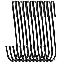 RuiLing 20-pack 4.2インチブラック帯電防止コーティングスチールSフック調理器具ユニバーサルポットラックフック頑丈な吊りフック – 複数の使用の台所用品、ポット、食器、植物、タオル