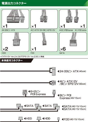 玄人志向 電源 500W 80PLUS Platinum 12cm静音ファン KRPW-PT500W/92+ REV2.0
