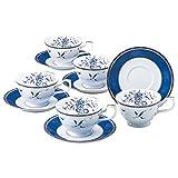 ナルミ ペレーネブルー ティーコーヒー兼用カップ&ソーサー(5客)200cc 40721-32304