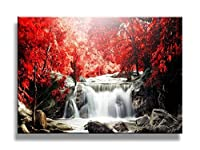 youkiswall art red waterfall 40 inch by 20 inch framed canvas print