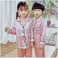 LUKEEXIN Girls Pajamas Autumn Winter Long Sleeve Children's Sleepwear Set Silk Pajamas Suit Boys Pyjamas Sets for Kids