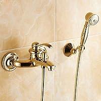 sjqkaシャワーヘッドジルコニウムゴールドすべての銅アンティークシャワーシャワーセットバスヘッドヨーロピアンスタイルCold and Simpleシャワーシャワー、A