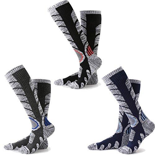 メンズ スキーソックス 3足組 ハイソックス スキー 靴下 メンズ 登山 靴下 靴下 暖かい (ブラック + ダー...