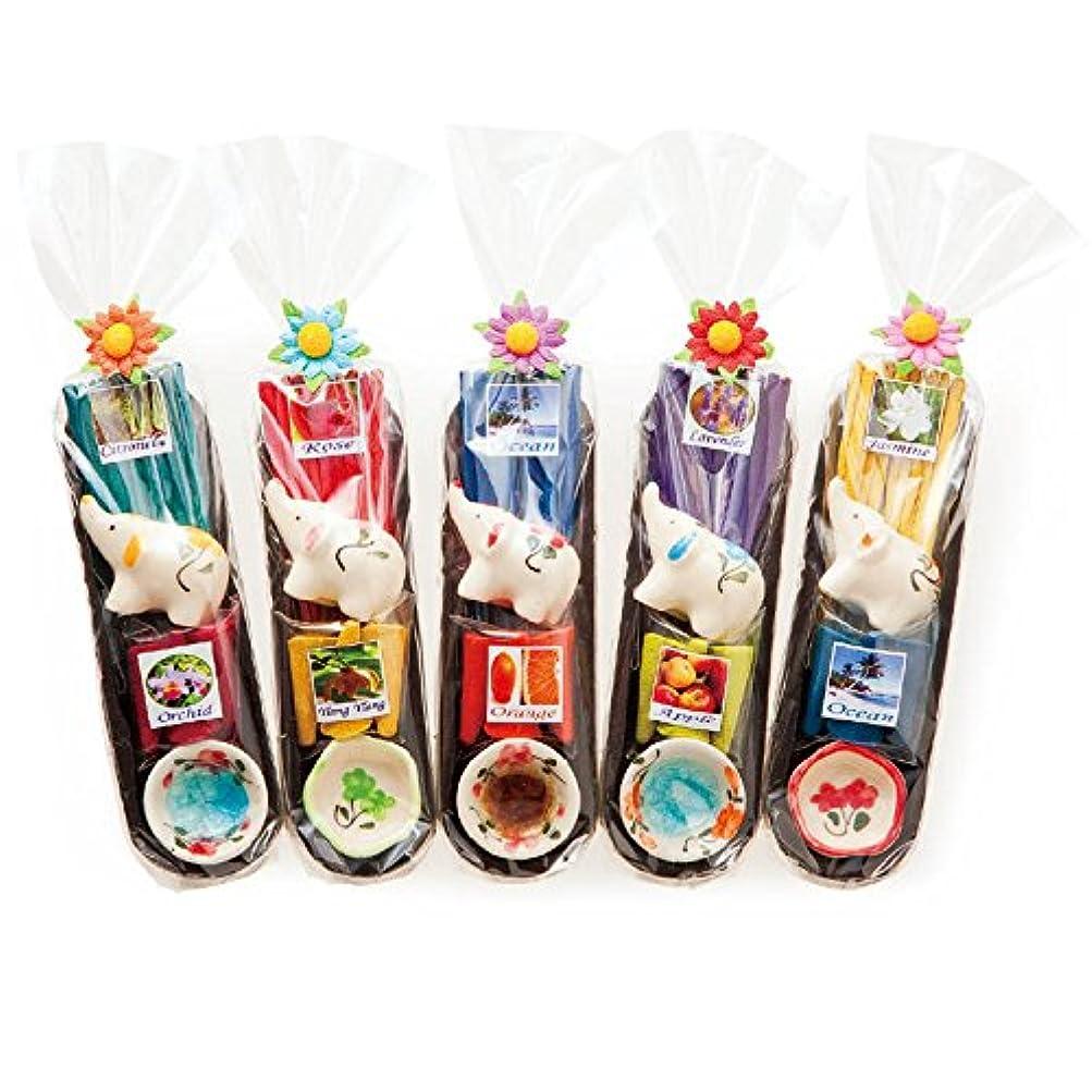 ランクチャンバー精巧なタイ 土産 ぞうさんアロマお香 5コセット (海外旅行 タイ お土産)