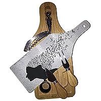 シート音楽音楽家Mindワイン&チーズセットガラスカッティングボード