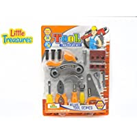 High quality Deluxe Tool series from Little Treasures - Complete with Motorcycle, screwdriver, hammer, saw, pliers, wrench, Bits, nail, screws, and Wooden piece -play set for children over 36 months. [並行輸入品]
