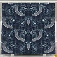 Kangenze シャワーカーテン Abstract Digital Art Fractal Pattern Symmetry Cool Bathroom Curtains 150cm×180cm