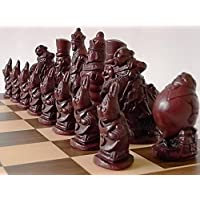 A full complete set of detailed novelty alice in wonderland themed chess set chessmen game pieces-based on the famous