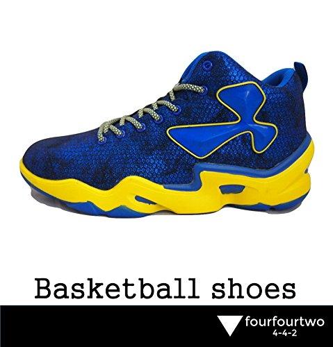 (フォーフォートゥー)4-4-2バスケットボールシューズミドルカットヒップホップシューズストリートバスケットシューズアウトドア(ブルー26.5cm)