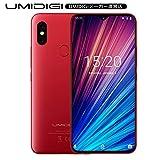 UMIDIGI F1 Play SIMフリースマートフォン Android 9.0 6.3インチ 48MP+8MPデュアルリアカメラ FHD+ 大画面 ノッチ付きディスプレイ 64GB ROM + 6GB RAM Helio P60オクタコア 5150mAh大容量バッテリー 18W高速充電 顔認証 指紋認証 技適認証済み au不可 (レッド)