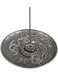 合金のお香ホルダーロータススティックお香バーナードラゴンとフェニックスコーンのお香ホルダーアッシュキャッチャー付き逆流5穴 (Color : Bronze, サイズ : 3.77*0.51inches)