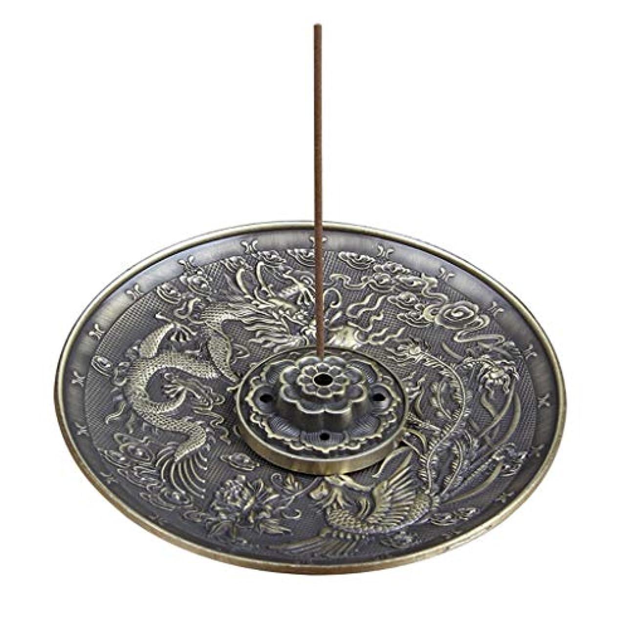 与える換気する容赦ない合金のお香ホルダーロータススティックお香バーナードラゴンとフェニックスコーンのお香ホルダーアッシュキャッチャー付き逆流5穴 (Color : Bronze, サイズ : 3.77*0.51inches)