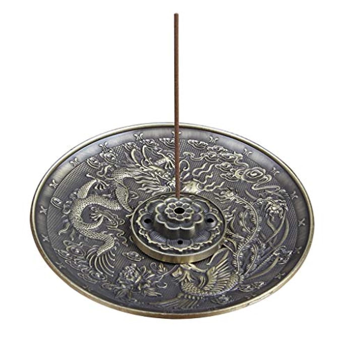 秀でる良さアンペア合金のお香ホルダーロータススティックお香バーナードラゴンとフェニックスコーンのお香ホルダーアッシュキャッチャー付き逆流5穴 (Color : Bronze, サイズ : 3.77*0.51inches)