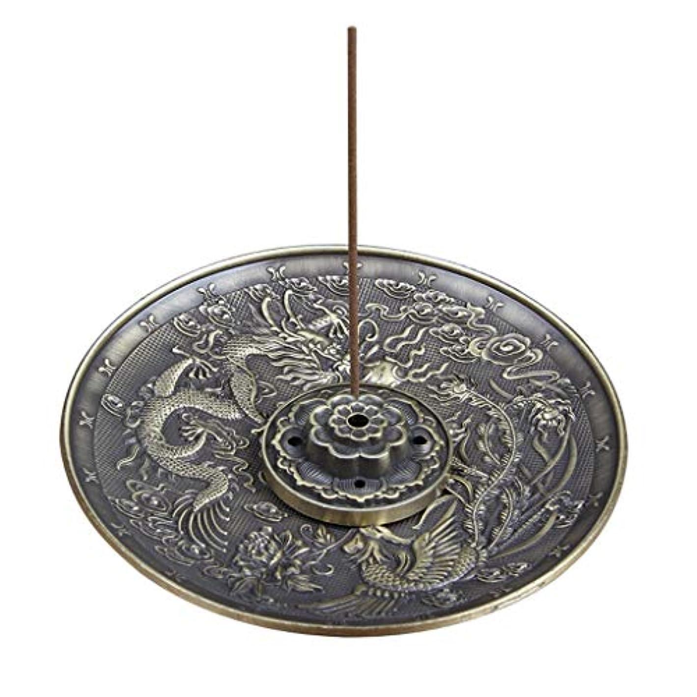 粘土雪縫い目合金線香ホルダーロータススティック線香バーナードラゴンとフェニックスコーン線香オイルバーナー灰との逆流キャッチャー(5穴) (Color : Bronze, サイズ : 3.77*0.51inches)