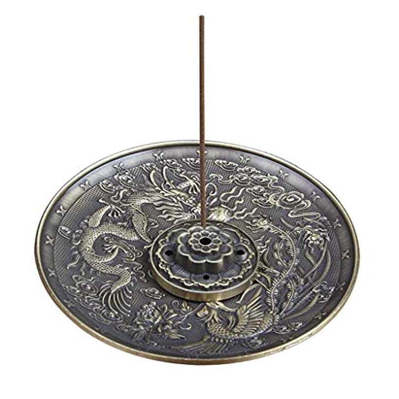 合金線香ホルダーロータススティック線香バーナードラゴンとフェニックスコーン線香オイルバーナー灰との逆流キャッチャー(5穴) (Color : Bronze, サイズ : 3.77*0.51inches)