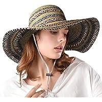 FURTALK Women's Wide Brim Sun Beach Hat Braided Bucket with Wind Lanyard UPF 50+