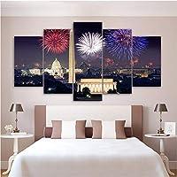 Wuyyii キャンバス絵画Hdプリントウォールアート5セット花火ビル街の夜景モジュラー写真新鮮なポスター家の装飾リビングルームA-20X35Cmx2/20X45Cmx2/20X55Cmx1