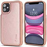 Arae Case for iPhone 11 PU Leather Wallet Case with Card Pockets Back Flip Cover for iPhone 11 6.1 inch 2019 (Rosegold)