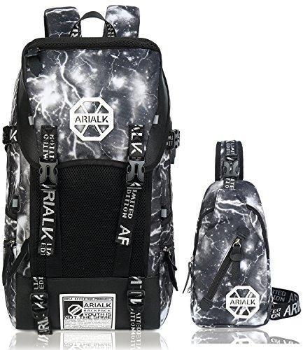 [ARIALK] リュック メンズ リュックサック 【改良版】 USB ポート搭載 レインカバー付き 盗難防止 通学 通勤 学生 (当店限定Color-グレー)